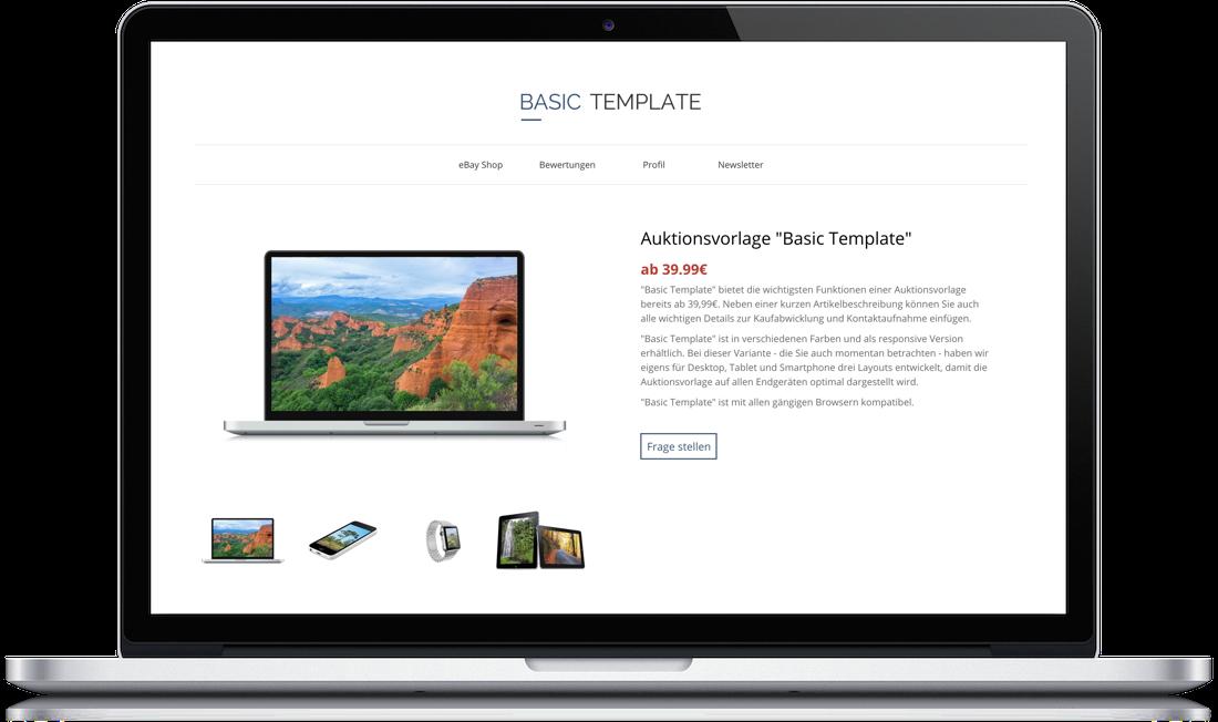 Basic Template Auktionsvorlage Pixelsafari E Commerce Solutions