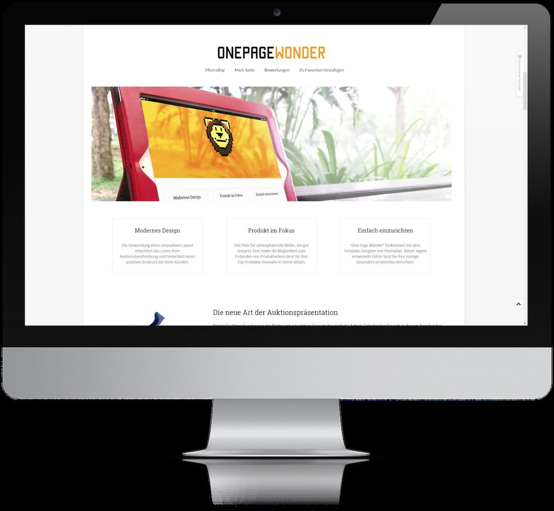 Onepagewonder Angebotsvorlage Pixelsafari E Commerce Solutions